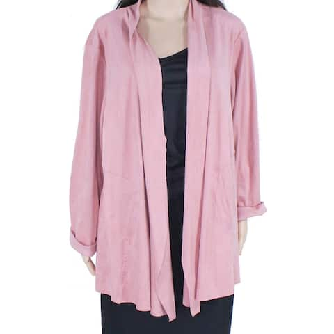Style & Co Womens Sweater Blush Pink Size 1X Plus Faux-Suede Cardigan