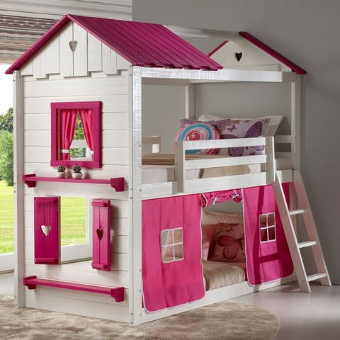 Sweetheart White and Pink Twin over Twin Bunk Bed with Tent