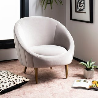 """Link to Safavieh Couture Razia Channel Tufted Tub Chair- Pale Taupe / Gold - 32.1""""x30.3""""x31.5"""" Similar Items in Arm Chairs"""