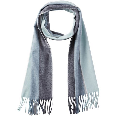 6.25' Teal Green and Gray Stylish and Fashionable Tickled Pink Vibrant Stripe Fringe Scarf