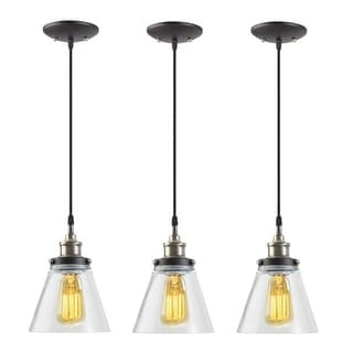 "Globe Electric 65207 Vintage Single Light 65"" Adjustable Pendant with Clear Glass Shade - Pack of 3"