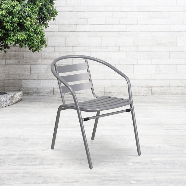 Metal Restaurant Stack Chair with Aluminum Slats. Opens flyout.