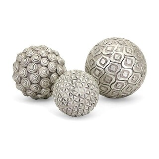 Set of 3 Textured Silver Finished Nahara Silver Balls