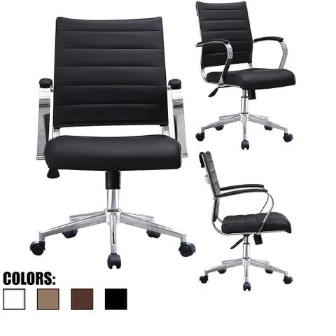 4ee50799a 2xhome Black Office Chairs Mid Back Ribbed PU Leather Executive Task Work  Conference With Arms Wheels