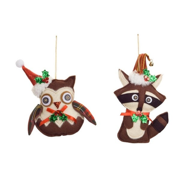 """Pack of 6 Brown and White Owl and Raccoon Christmas Ornaments 10"""""""