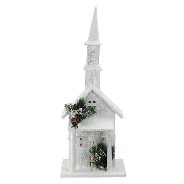 """22"""" LED Lighted White Wooden Snowy Church Christmas Decoration"""