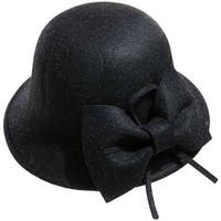 Mad Style Black Bow Cloche Hat