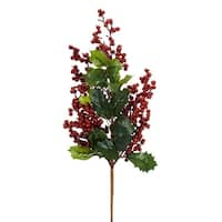 Club Pack of 12 Green and Cherry Red Holy Leaf Pine/Berry Christmas Foam Spray Decor 26""