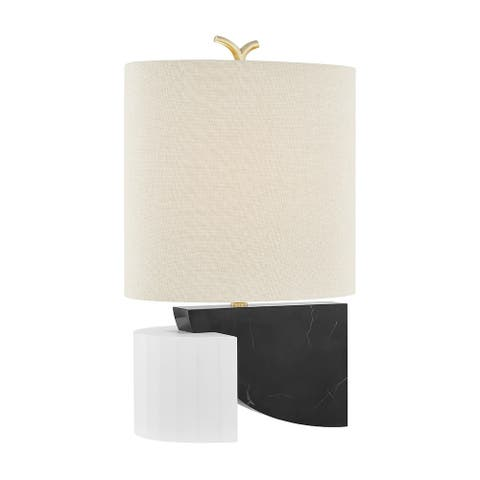 Hudson Valley Construct 1-Light Aged Brass Table Lamp with Beige Linen Shade