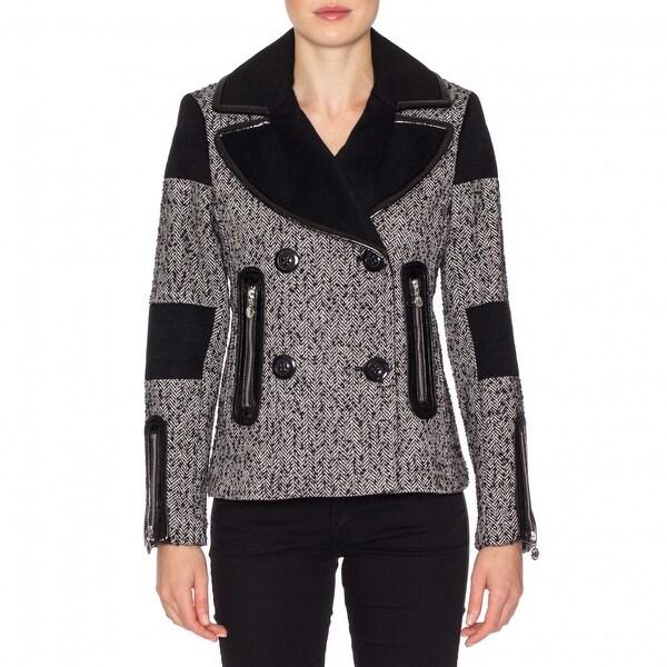 Betsey Johnson Womens Herringbone Wool Coat