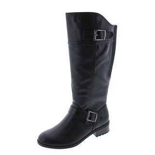 Andrew Geller Womens Adeh Riding Boots Faux Leather Mid-Calf