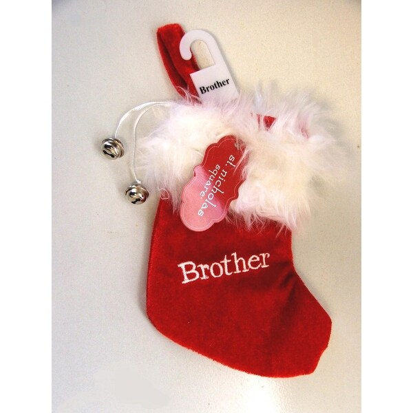 """7"""" Red & White """"Brother"""" Embroidered Mini Christmas Tree Stocking"""