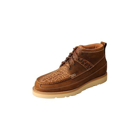 Twisted X Work Shoes Mens Nylon Lace Elastic Tongue Brown