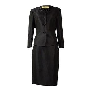 Kasper Women's Embellished-Collar Sheen Skirt Suit