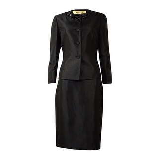Kasper Women's Embellished-Collar Sheen Skirt Suit - Black