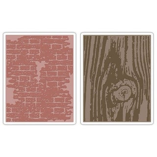 Sizzix Texture Fades A2 Embossing Folders 2/Pkg-Bricked & Woodgrain By Tim Holtz