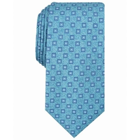 Perry Ellis Men's Teal Blue Kilton Neat Geometric Classic Neck Tie Silk