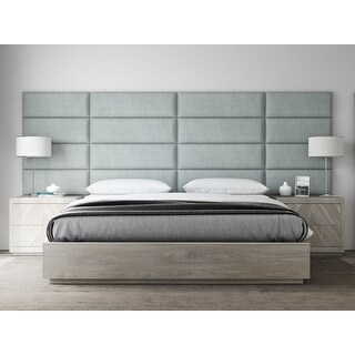 "VANT Upholstered Headboards - Accent Wall Panels - Packs Of 4 - Textured Cotton Weave Ash Gray - 39"" Wide x 11.5"" Height."