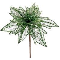 """Pack of 4 Green Glittered Mesh Poinsettia Stem 36"""""""