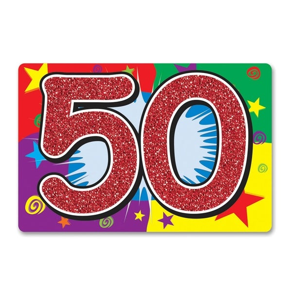 Shop Pack Of 12 Vibrant Glittered 50 Happy Birthday Double Sided Cutout Decorations 15