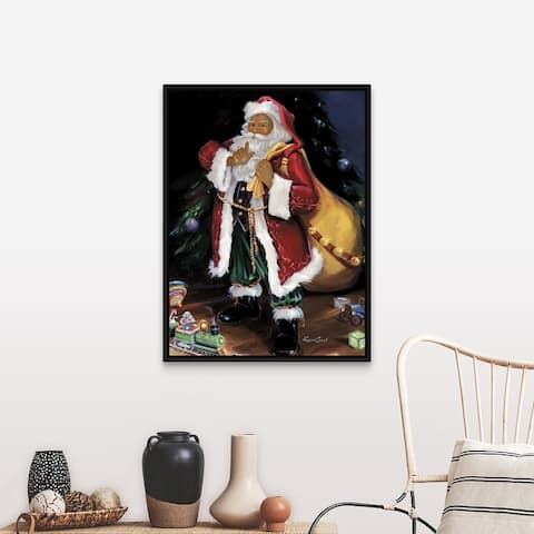 """African American Santa"" Black Float Frame Canvas Art"