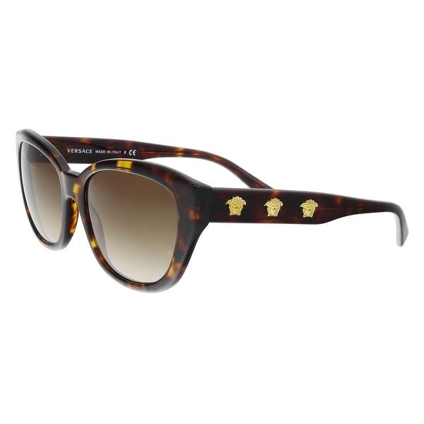 6807f8d22c Shop Versace VE4343 108 13 Havana Oval Sunglasses - 56-18-140 - Free ...
