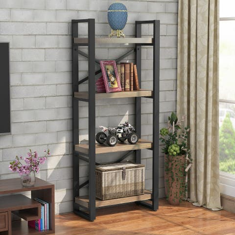 4-Shelf Rustic Solid Wood Corner Bookcase, A Great Solution for Storge Organize