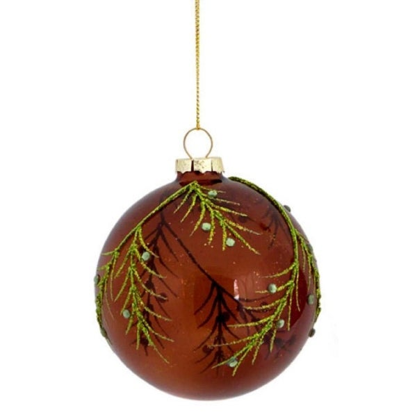 """3.25"""" Enchanted Forest Green Glitter Leaf Glass Ball Christmas Ornament - brown"""