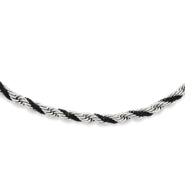 Stainless Steel Black-plated Box & Rope Twisted 18in Necklace (4 mm) - 18 in