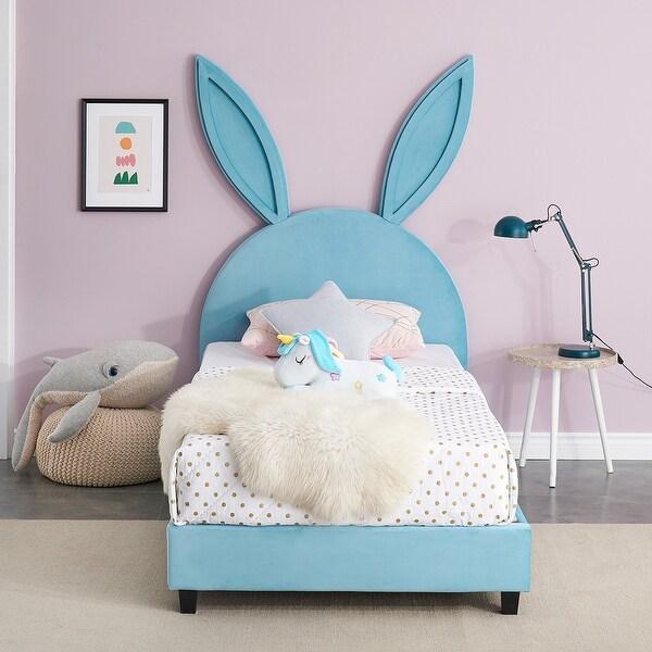 VECELO Wooden Cute Rabbit Twin Platform Bed Frame. Opens flyout.