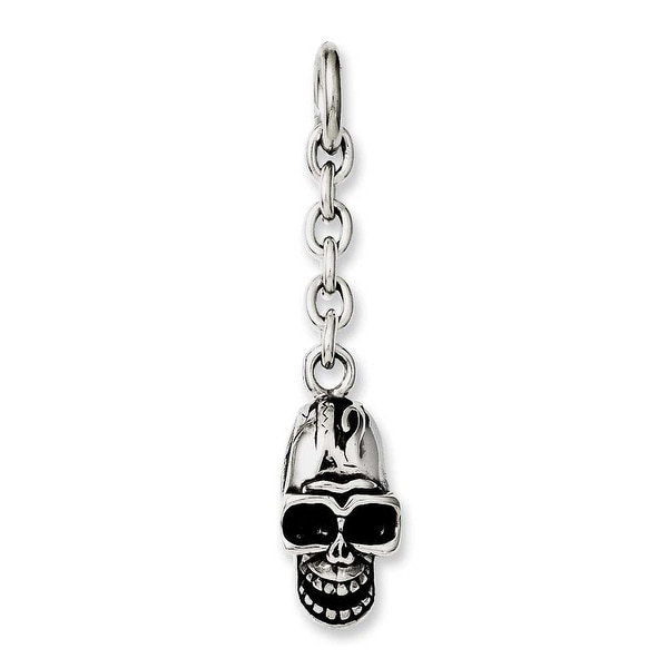 Chisel Stainless Steel Skull Interchangeable Charm Pendant (11 mm) - 2 in