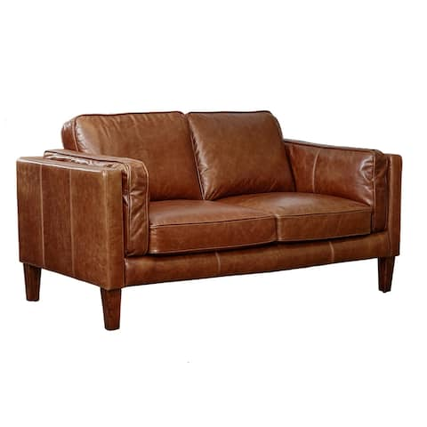 Strick & Bolton Prue Brown Leather Loveseat
