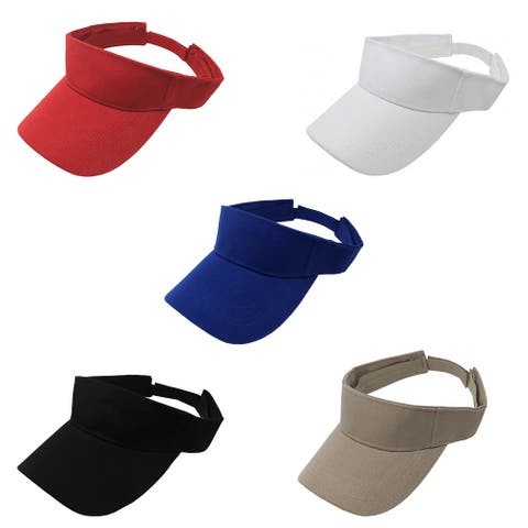 Pack of 5 Sun Visor Adjustable Cap Hat Athletic Wear - One Size
