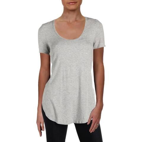 Aqua Womens T-Shirt Side Slit Scoop Neck