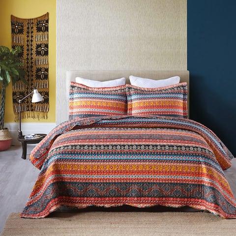 3 Piece Bohemian Quilt Bedspread Set By012