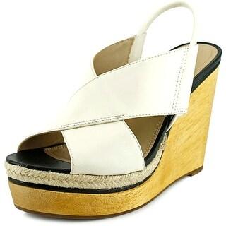 Diane Von Furstenberg Gladys Open Toe Leather Wedge Heel