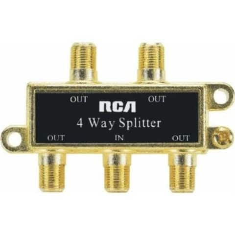Audiovox Vh49R Rca 4-Way Coax Splitter Gold