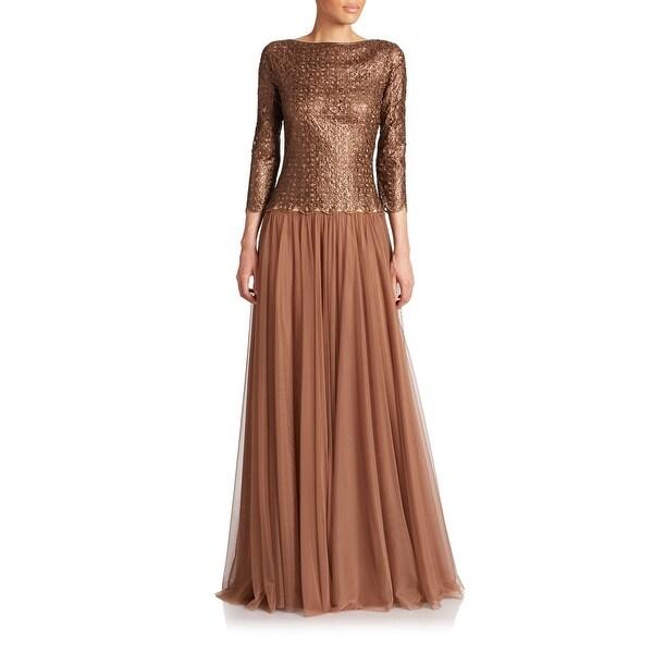 e4d71365a030 Shop Tadashi Shoji Cutout Illusion Long Sleeve Evening Gown Dress ...