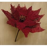 Burlap Poinsettia Pick, Red