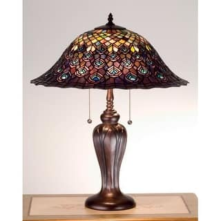 Hardwired table lamps for less overstock meyda tiffany 26666 stained glass tiffany accent table lamp from the peacock feather collection greentooth Images