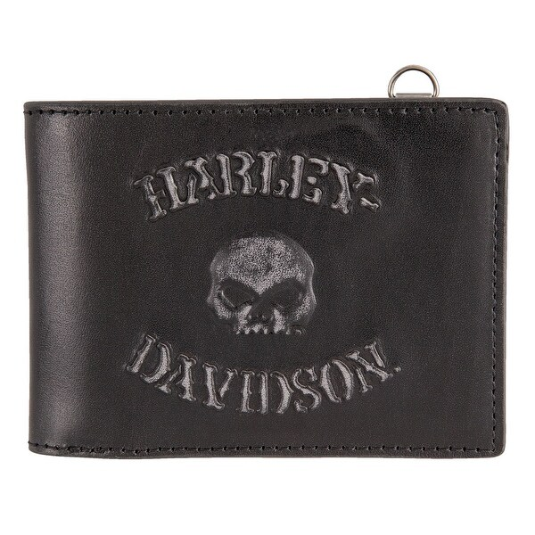 "Harley-Davidson Men's Bad Company Skull Bi-Fold Leather Wallet HDMWA11297-BLK - 4.5"" x 3.5"""