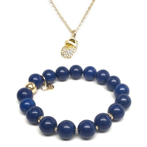 Blue Jade Bracelet & Blue CZ Baby Shoe Gold Charm Necklace Set
