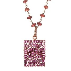 Sterling Silver Garnet Stone Chain & Ruby Pendant Necklace