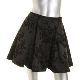 Aqua Womens Lined Floral Pleated Skirt