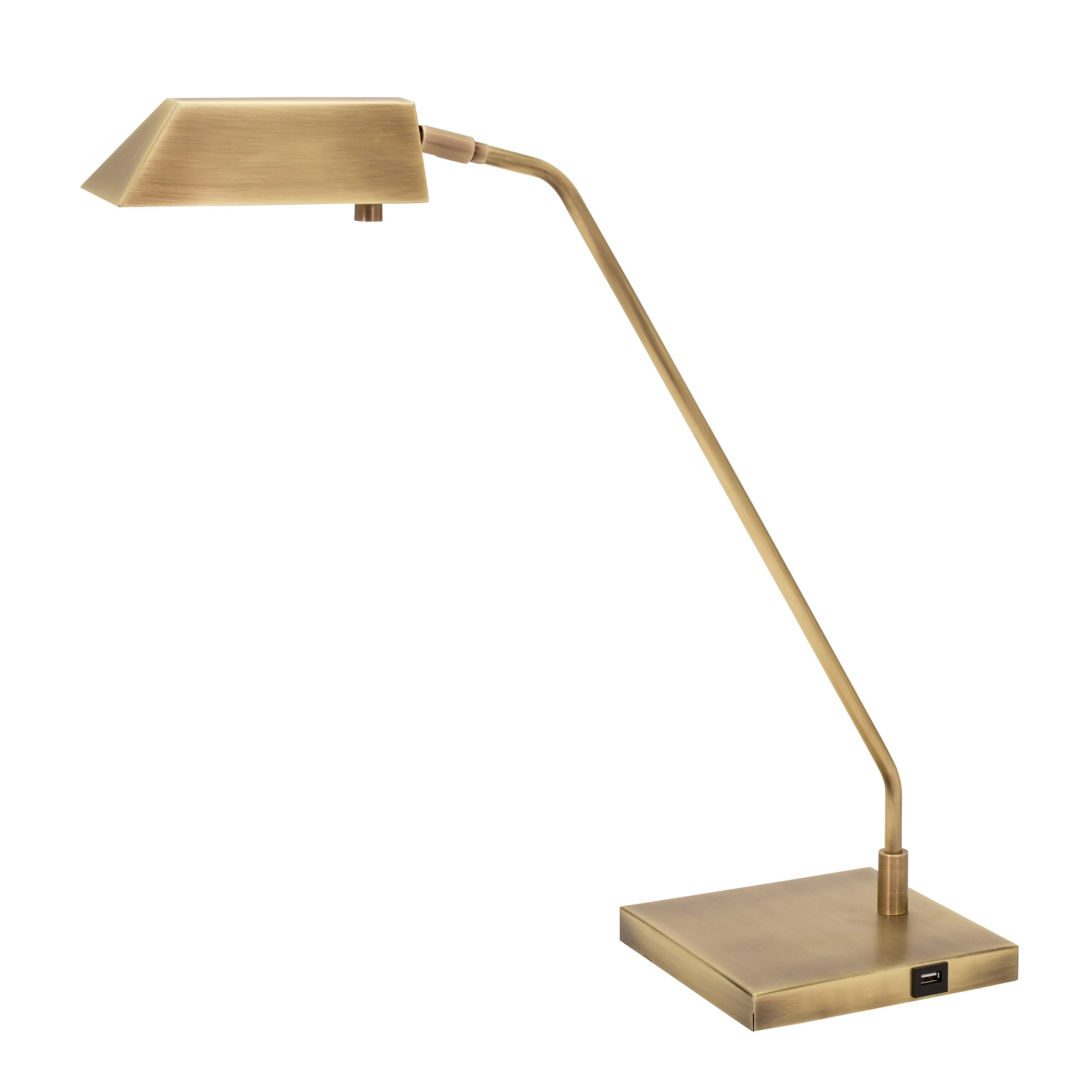House of Troy NEW250  Newbury 21 Tall Integrated 3000K LED Arc Table Lamp with USB Port (Satin Nickel)