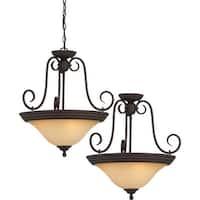 "Volume Lighting V2360 Troy 3 Light Bowl Shaped 21.5"" Height Pendant with Sandsto - Antique Bronze"