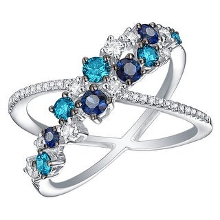 Prism Jewel 1.15CT Blue Sapphire with Blue & White Diamond Designer Ring