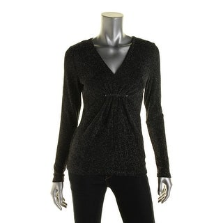 MICHAEL Michael Kors Womens Metallic Ruched Pullover Top