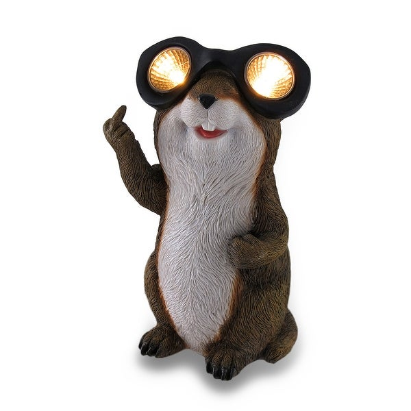 Naughty Groundhog Solar Eyes Solar LED Light Statue - 9 X 4.5 X 4.5 inches