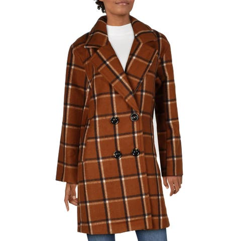 Steve Madden Womens Car Coat Plaid Double Breasted - Cognac